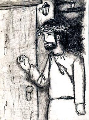 見よ、わたしは戸の外に立って、たたいている。 だれでもわたしの声を聞いて戸をあけるなら、 わたしはその中にはいって彼と食を共にし、 彼もまたわたしと食を共にするであろう。 ヨハネの黙示録3章20節